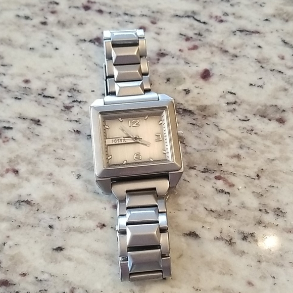 Silver fossil mens watch